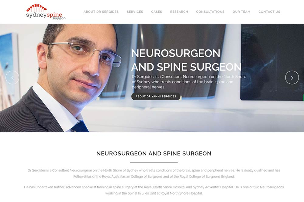 spine surgery website development